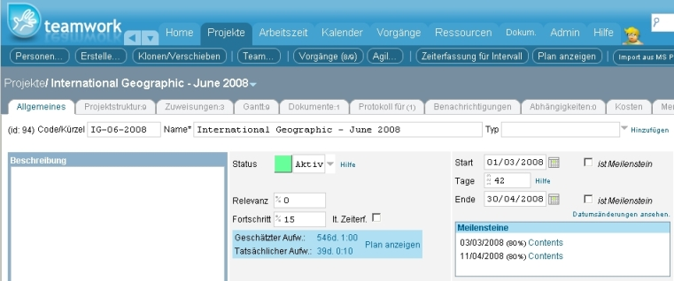 Task editor in German.